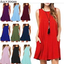 ZOGAA 2019 Solid Sleeveless Tank Shift Dress Ladys Casual Summer Pocket Sexy Pure Cotton Loose Vestidos S-XXL