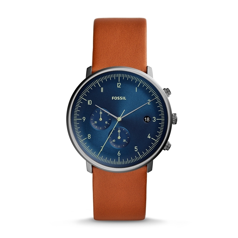 FOSSIL Mens Watch Chase Timer Chronograph Luggage Leather Watch Blue Dial Quartz Wristwatch Mens FS5486P