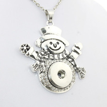 2016 vintage Crystal Christmas snowman pendant Necklace 18mm metal snap button jewelry one direction 5 5