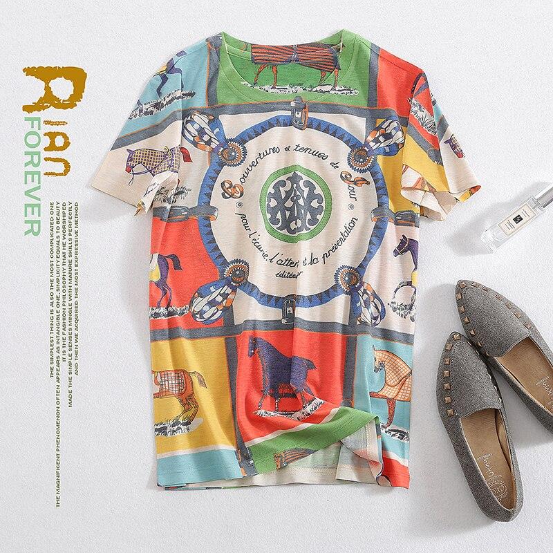 新プリント tシャツエレガントなハーフスリーブとラウンド襟ヨーロッパアメリカのファッションの夏 2019  グループ上の レディース衣服 からの Tシャツ の中 1