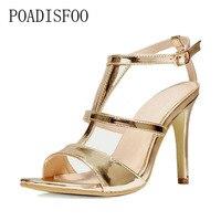POADISFOO 2018 bahar yeni moda T tipi bant yüksek topuk sandalet delikli altın peep parmaklı kadın ayakkabı. SL-918-2