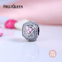 FirstQueen Pink Crystal Captivating Heart Charms Beads 925 Sterling Silver Jewelry CZ Pave Ball Bead Fits