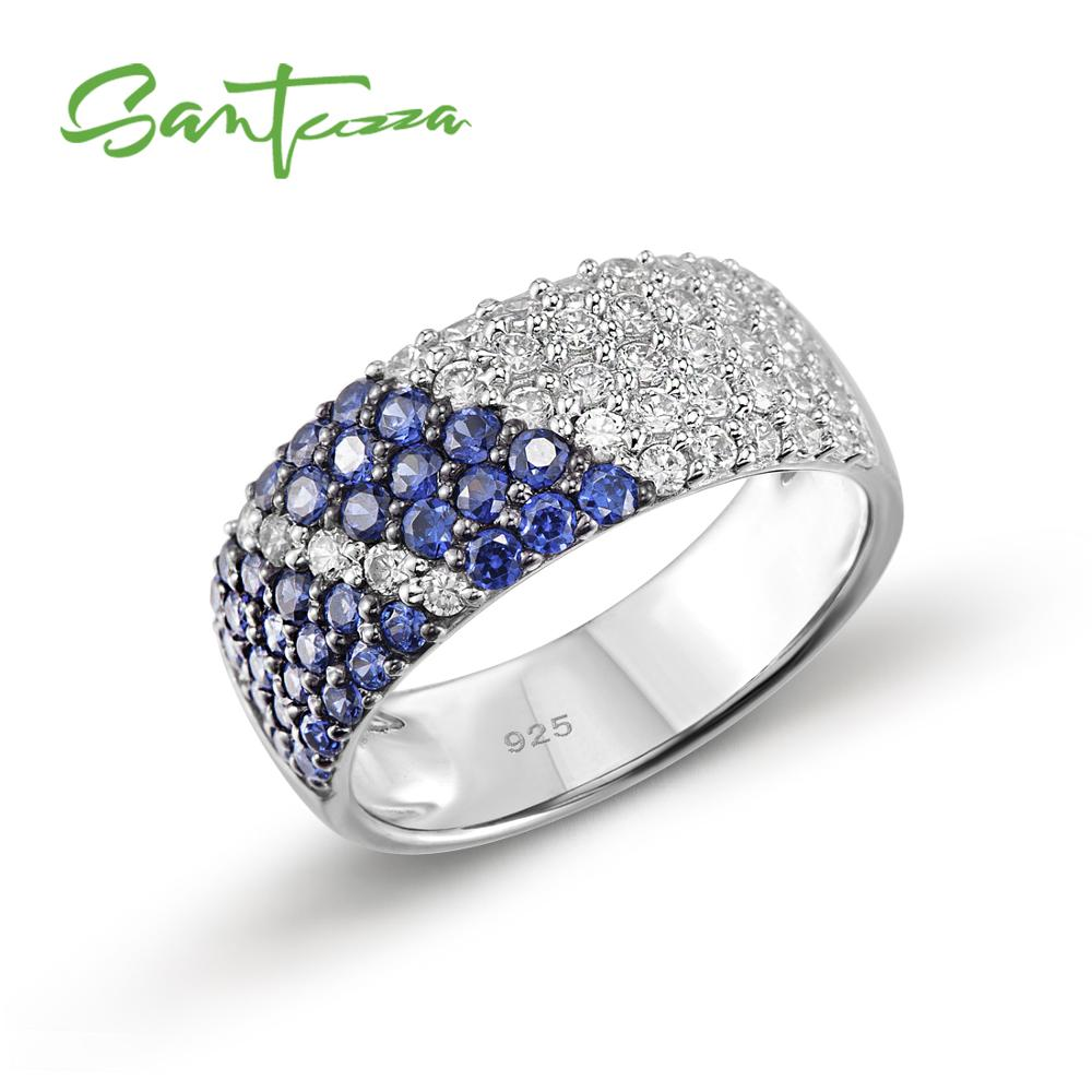 SANTUZZA Silver Ring For Women 925 Sterling Silver Fashion Round Rings for Women 2017 Cubic Zirconia Ringen Party Jewelry-in Rings from Jewelry & Accessories
