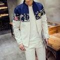 2016 Autumn New Jacket Men Korean Slim Fit Fashion Patchwork Color Mens Coat Plus Size Casual Men Floral Jacket Windbreaker Coat