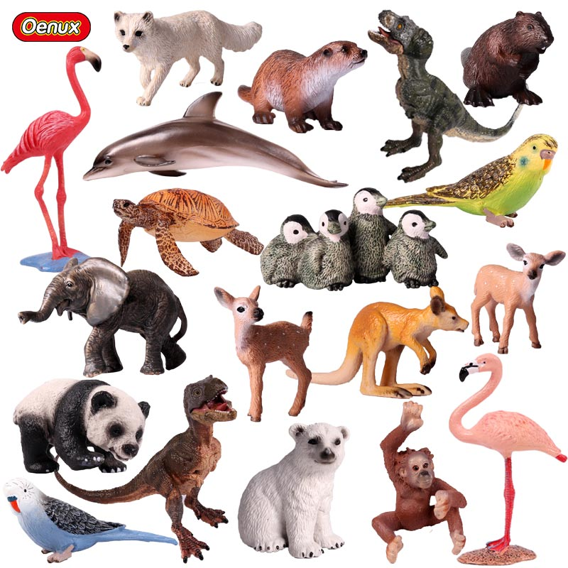 Oenux Cute Animals Tiger Model Action Figure Birds Dog Figurines Sea Life Animals Dolphins Miniature Collection Toys For Kids