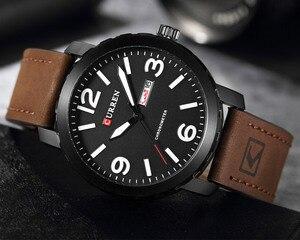 Image 4 - עסק פשוט אופנה גברים שעוני יוקרה מותג CURREN זכר שעון לוח רצועת עור שעוני יד Relogio Masculino Hodinky