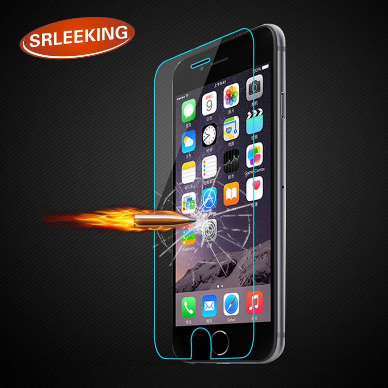 SRLEEKING For iPhone 4 4S 5 5S SE 6 6S 7 7Plus HD Clear Tempered Glass Film Screen Protector Protective Film +with Clean Tools