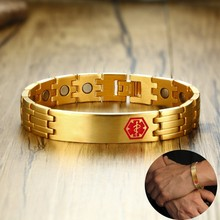 Personalized Men's Stainless Steel with Magnetic Medical Alert ID Tag Bracelets DIABETIC with Free Custom Engraving DIABETIC