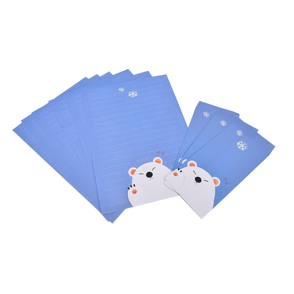 Vintage Kraft Paper Envelopes Cute Cartoon Kawaii Paper Korean Stationery Gift 6 Sheets Letter Paper+3 Pcs Envelopes Per Set