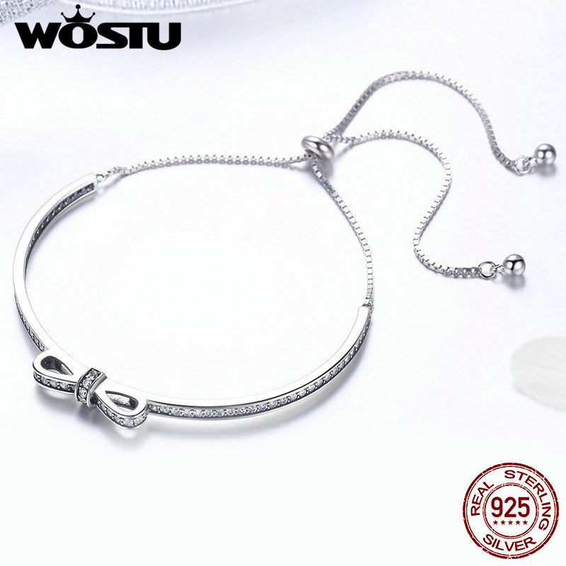 Image 5 - WOSTU New Arrival 925 Sterling Silver Sparkling Bowknot Chain Adjustable Bracelet Bangle For Women S925 Jewelry Gift CQB108Chain & Link Bracelets   -