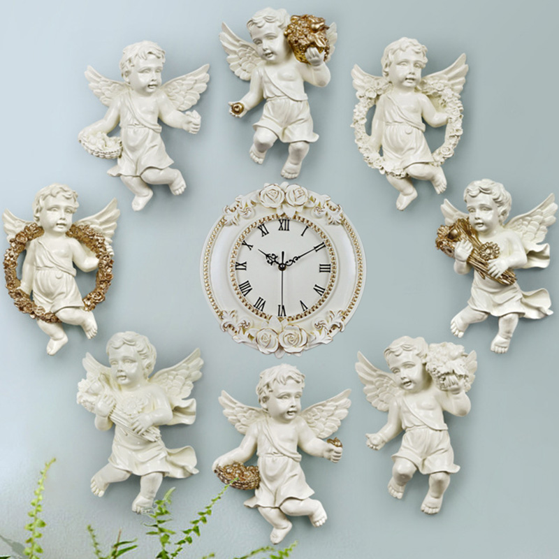 4 Piece Creative European Statues Decorative Angel Wall Decoration Crafts Wall Hanging Resin Living Room Wall