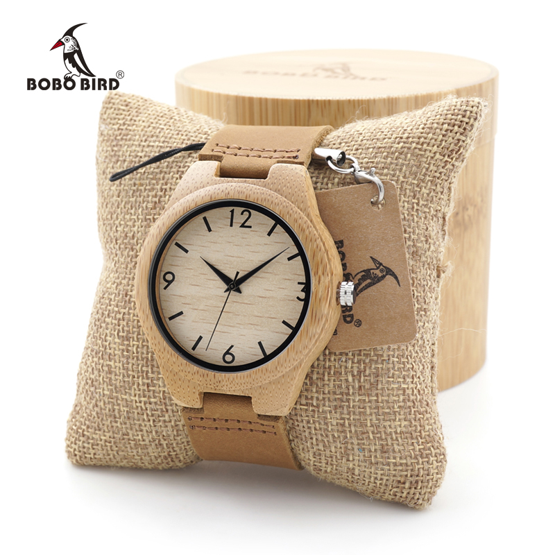 BOBO BIRD Mens Womens Bamboo Wooden Quartz Watch Japanese 2035 Movement Watch with Genuine Leather Band as Valentine's Day Gift bobo bird bamboo wood quartz watch men women japanese majoy movement soft silicone strap casual ladies watch wristwatch for gift