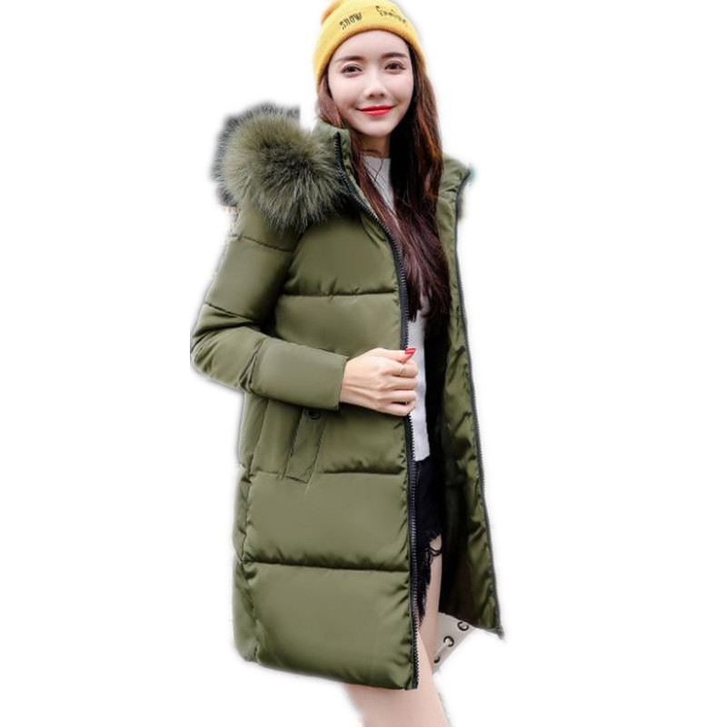 2018 New Solid Winter Women Padded Down Cotton Jacket Hooded Fur Collar Slim Medium-Long   Parkas   Thicken Casual Winter Coats Q580
