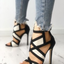 Ladies Mix Color Thin Heels Party Ankle Strap Gladiator Sandals