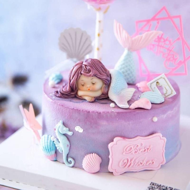 Strange Resin Sleeping Beauty Mermaid Wedding Birthday Cake Decoration Personalised Birthday Cards Paralily Jamesorg