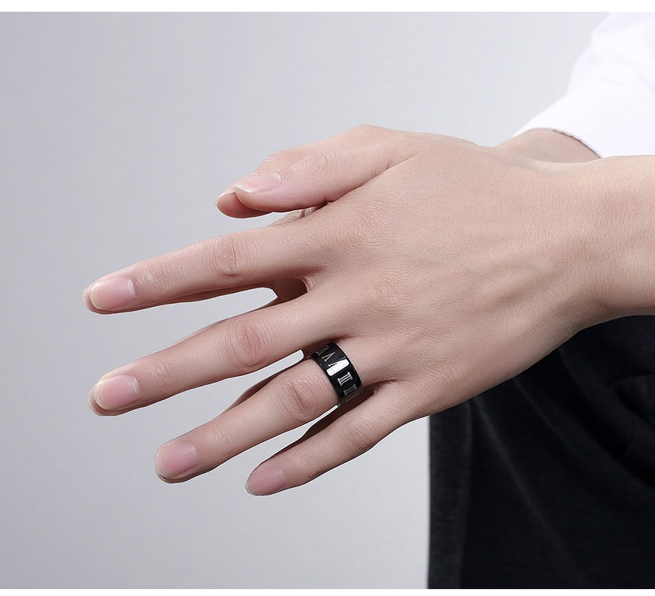 USTAR NEW Black Wide Finger Rings Men Jewelry Roman Figure 10mm ...