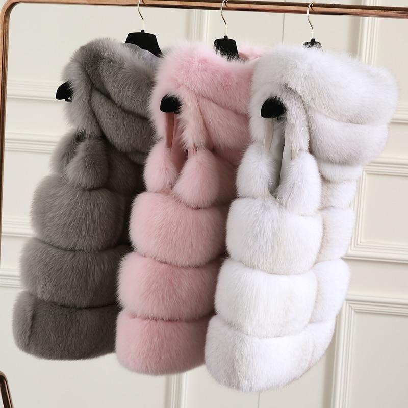 Fursarcar moda nova pele real colete feminino inverno grosso quente outwear 70 cm longo sólido fofo pele de raposa colete com capuz de pele