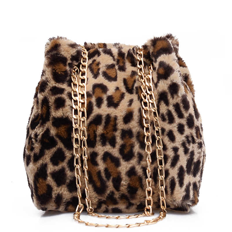 Faux Fur Leopard Bucket Bags For Women 2018 New Fashion Small Winter Shoulder  Bags Ladies Crossbody 5887ea2eba877