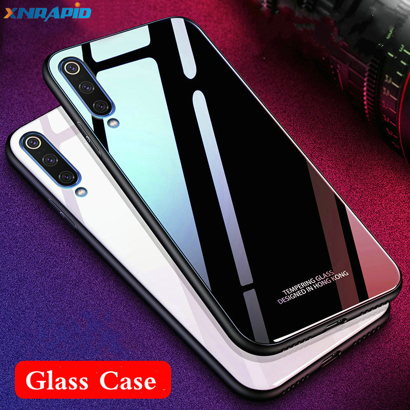Tempered Glass Case For xiaomi <font><b>mi</b></font> <font><b>9</b></font> <font><b>se</b></font> <font><b>mi</b></font> <font><b>9</b></font> <font><b>global</b></font> Case Soft Frame Hard Glass Back Cover For xiaomi MI9 <font><b>global</b></font> Mi9se Shockproof image