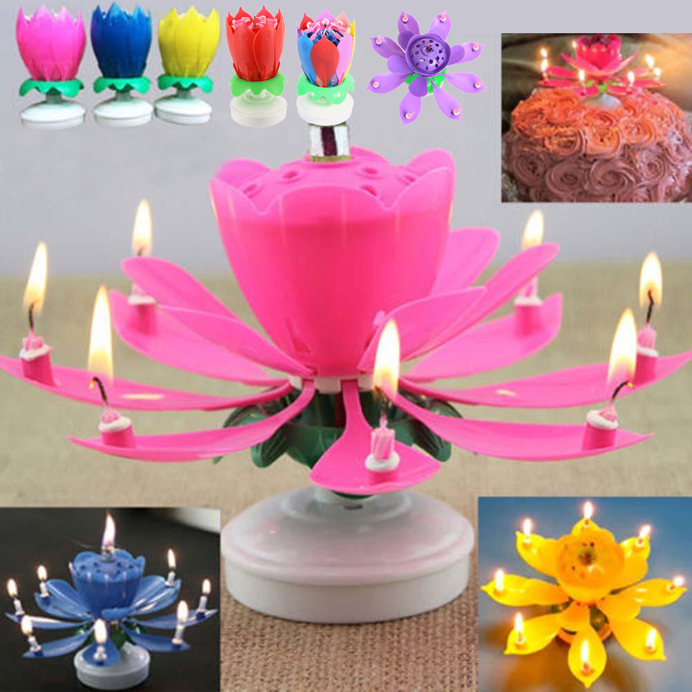 1PC Beautiful Blossom Lotus Flower Candle Birthday Party Cake Music Sparkle Topper Candles Decoration In Decorating Supplies From Home Garden On