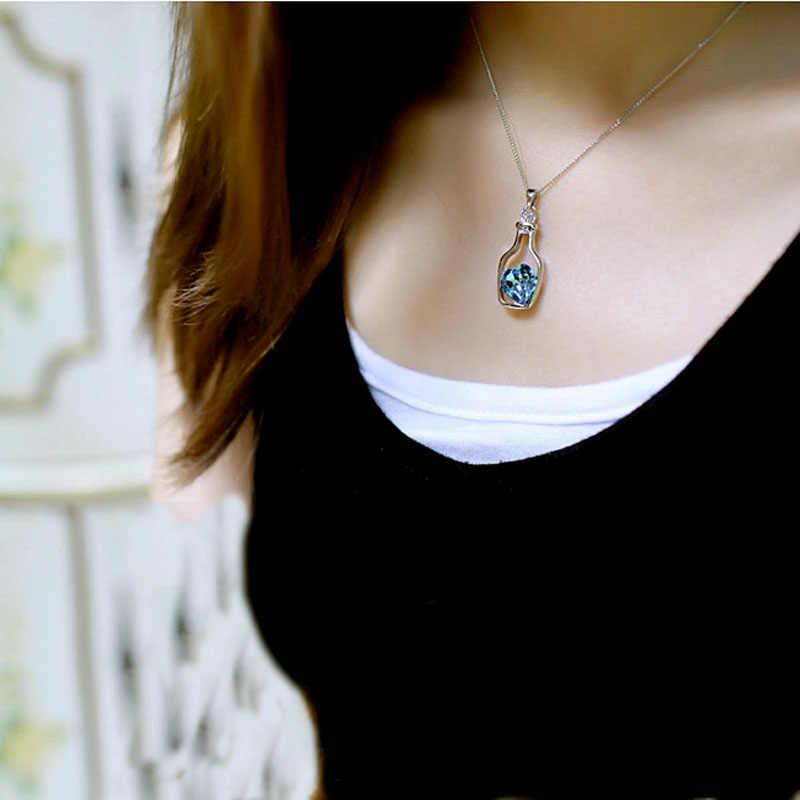 Frauen Halsketten Liebe Drift Flaschen Anhänger Neue Damen Mode Beliebte Kristall Halskette Kette Metall Anhänger #40
