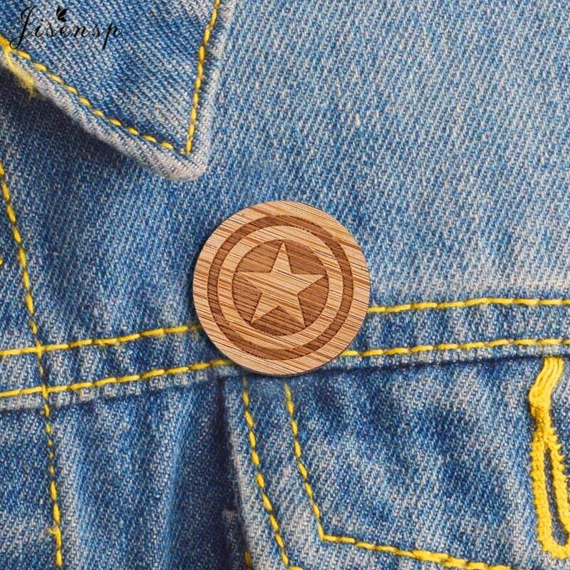Captain America Wood Brooch - Laser Engraved - Avengers Lapel Pin