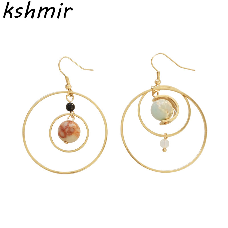 Fashion personality bump color earth geometric circular ear ring eardrop atmosphere personality South Korea female earrings