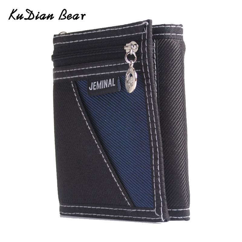 KUDIAN BEAR Canvas Fashion Men Wallets Casual  Trifold  Boy Purse Vertical Patchwork Design  Male Card Holder -- BID048 PM49KUDIAN BEAR Canvas Fashion Men Wallets Casual  Trifold  Boy Purse Vertical Patchwork Design  Male Card Holder -- BID048 PM49