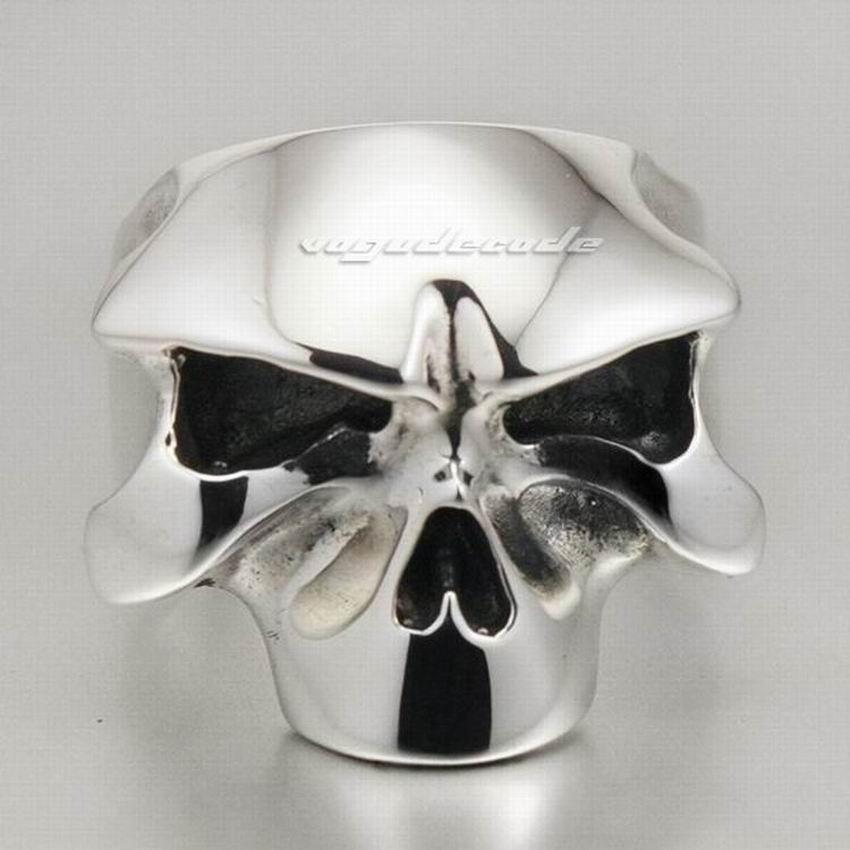 Solid 925 Sterling Silver Skull Mens Biker Rocker Ring 8D008 US Size 8 to 14 solid 925 sterling silver skull mens biker pendant 8c011 with matching stainless steel necklace