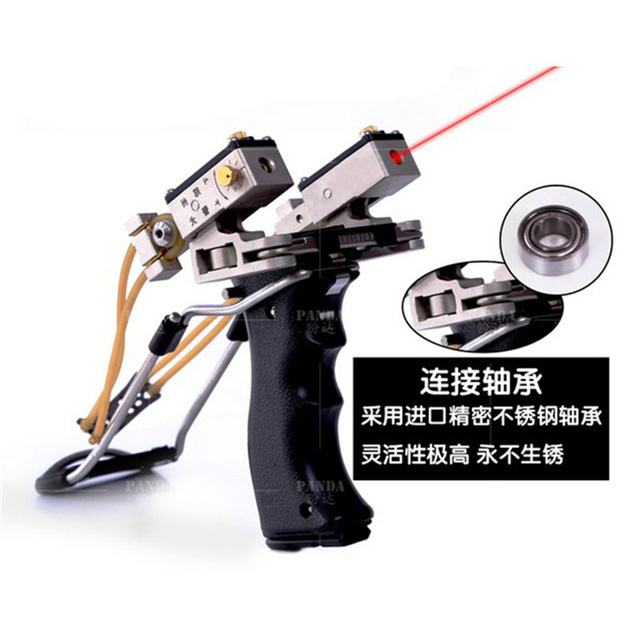 Cheap Recurve Bow Archery Slingshot Catapult Hunting Fishing With Laser Sight Light Stainless Steel Leather Wrist Strong Sling Shot