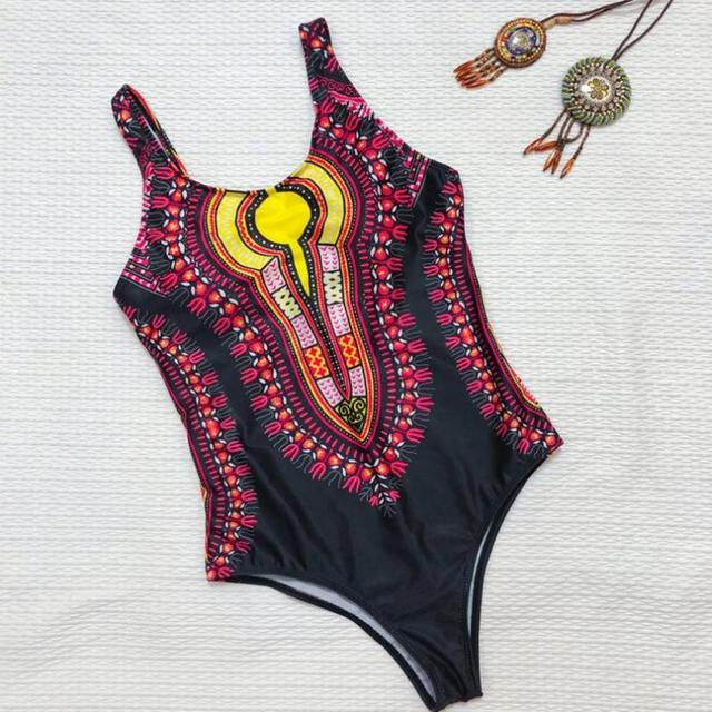 63279b208cb8a Womail Swimwear Women Curve Appeal Dashiki African Print one piece Swimsuit  plus size Bikini 2018 Push-Up Bathing Suits