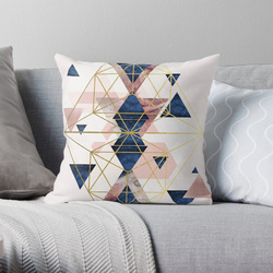 Blush różowy i granatowy geometryczny doskonałości poszewki na poduszki przypadki wzór Nordic pokrywa poduszki poszewka na poduszkę plac druku|Poszewka na poduszkę|   -