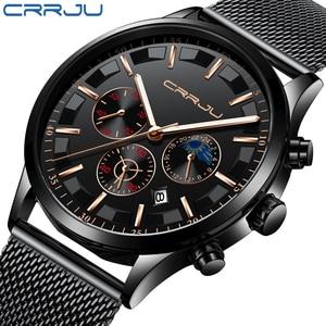Image 1 - New crrju Men Watches Top Brand Luxury Quartz Clock Chronograph Fashion Mesh Steel Watch Waterproof Sport Mens Watch Saat 2019