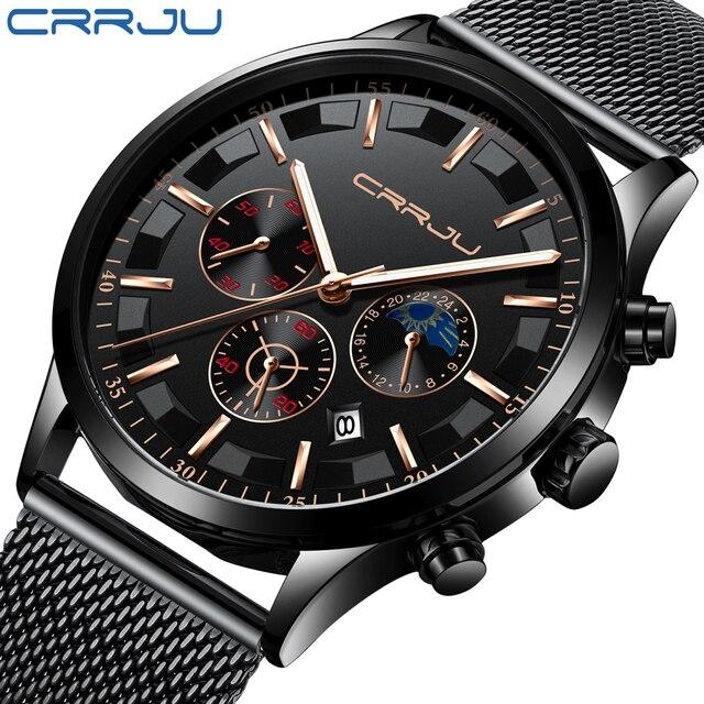 New crrju Men Watches Top Brand Luxury Quartz Clock Chronograph Fashion Mesh Steel Watch Waterproof Sport Mens Watch Saat 2019