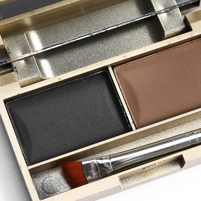 Brand 2 Color Eyebrow Powder Makeup Palette Waterproof Natural Brown Eye Brow Enhancers Shadow Cosmetic Kit with Brush Mirror 4