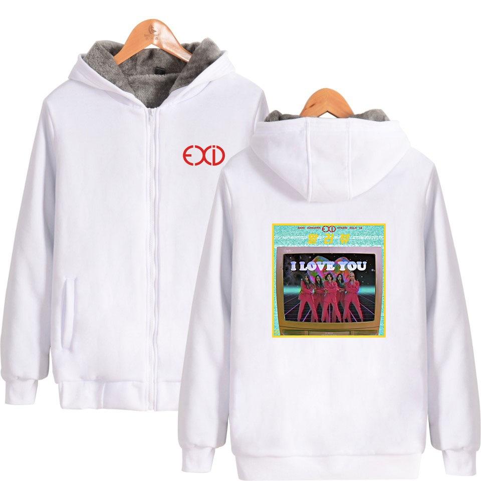EXID Fashion Printed Parkas Women/Men Kpop Long Sleeve Zipper Hooded Warm Coats 19 Hot Sale Casual Streetwear Winter Clothes 4