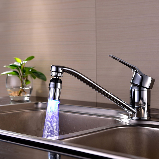 Kitchen Sink 7Color Change Water Glow Water Stream Shower LED ...