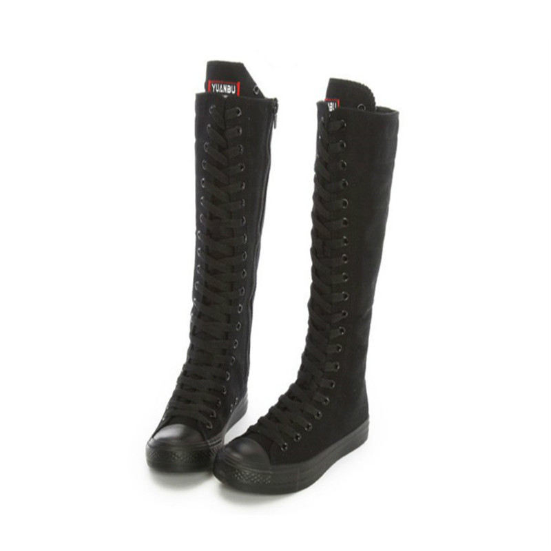 Women Canvas Thigh High Boots Lace Up Flat Boots Dance Boots ...