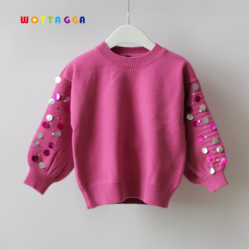 WOTTAGGA 2018 Kids Sweater Fashion Toddlier Clothes 3-7Y Paillette Fashion O-neck Autumn Winter Knitwear