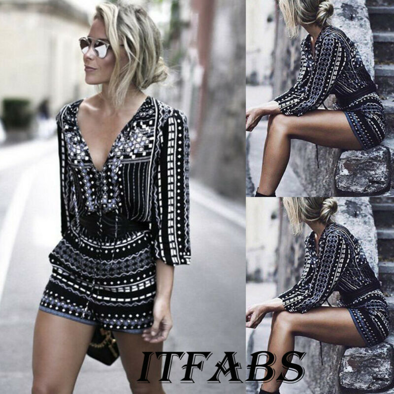 Sexy Women Summer Loose Jumpsuit Long Sleeve V Neck Female High Waist Striped Printed Playsuit Summer Beach Clothes