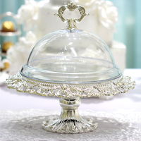 Cake stand silver Dessert cake tray decor Fruit plate Cake Decorating Supplier Banquet decoration (not include the cover)