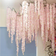 88 cm flor de cerezo vid Sakura flores artificiales para fiesta boda decoración de techo colgante de pared Flor de ratán Artificial(China)