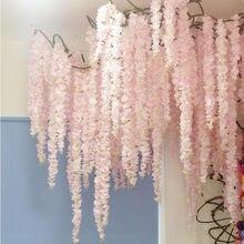 88cm kiraz çiçeği asma Sakura yapay çiçekler parti düğün için tavan dekorasyonu duvar asılı rattan fleur artificielle