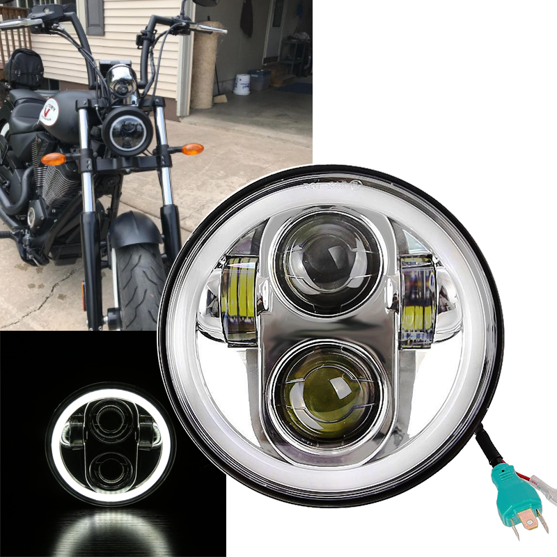 DOT DRL 5.75 LED Headlight Motorcycle Daymaker 5 3/4 Front Driving Head Lights Headlamp For Harley VRSCD VRSCDX FLSTSE