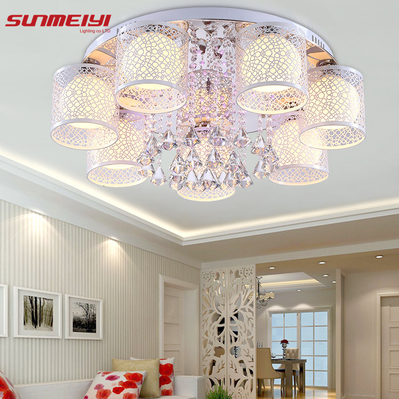 2019 New Round LED Krystal Loftslys til Living Room Indoor Lamp med Fjernstyret Luminaria Home Decoration