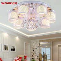 2019 nova redonda conduziu a luz de teto cristal para sala estar lâmpada interior com controle remoto luminaria decoração para casa