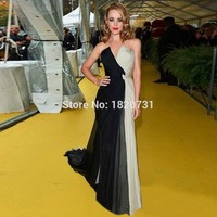 New Sexy vestidos de festa Front Split Chiffon Evening Gowns 2019 Cheap Black and White Long Evening Dress Prom Formal Gowns