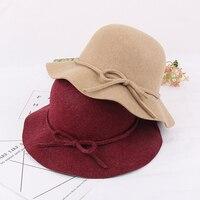 2017 החדש רטרו גבירותיי לאורך כובע צמר סתיו והחורף גרסה קוריאנית של אגן כובע שמש למעלה גל bowler hat ZM-52