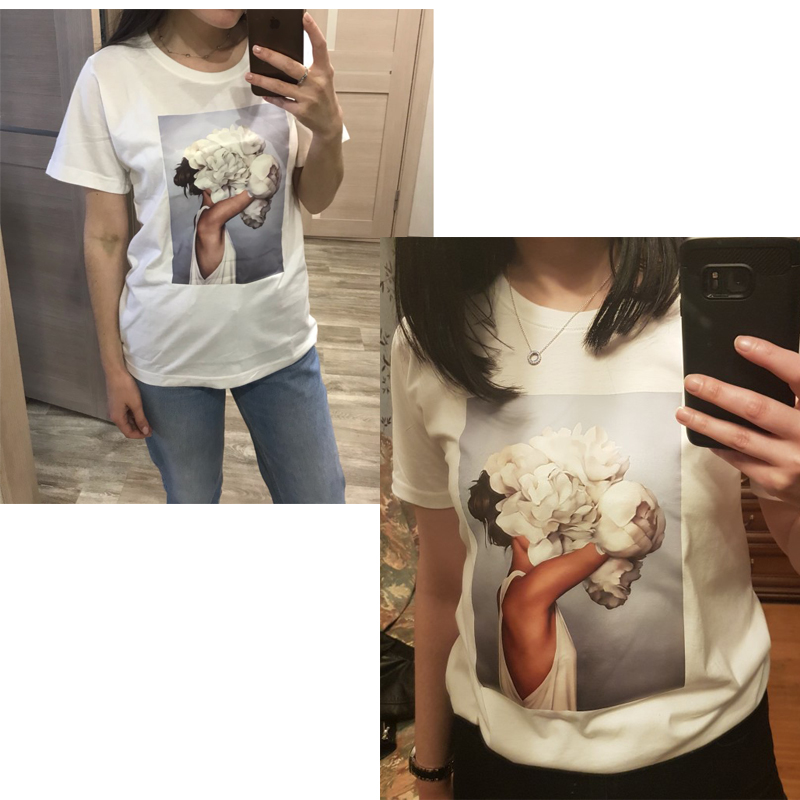 Aesthetics T shirt Women Nice Flowers Feather Print tshirt vintage art tops summer casual short sleeve kawaii women clothes 2019 in T Shirts from Women 39 s Clothing