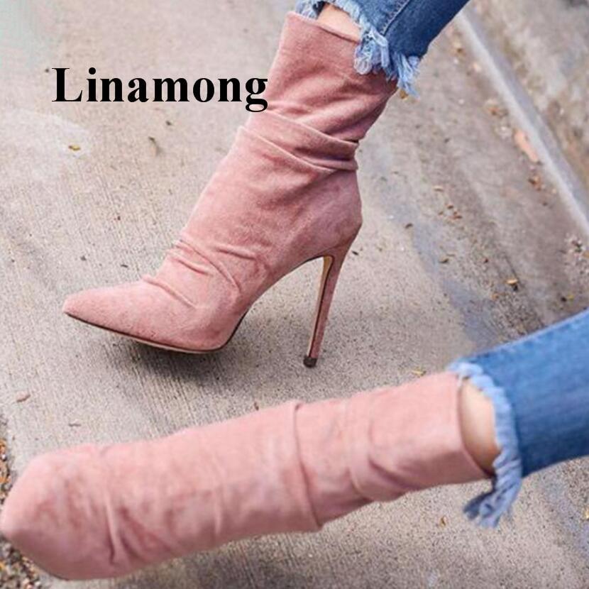 Здесь можно купить  2018 Hottest Fashion Pointed Toe Thin High Heel Flock Solid Rear Zipper Elastic Fabric Spring And Autumn Women Boots Normal Size  Обувь
